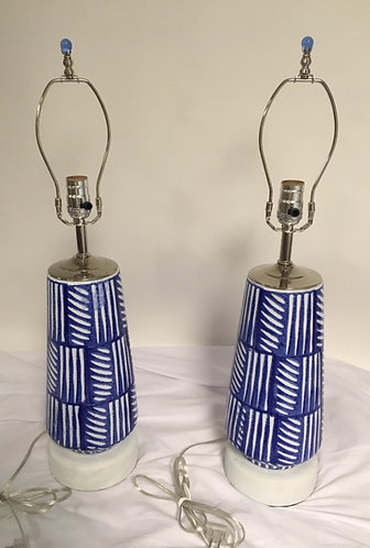 Clay Fired Blue and White Table Lamps
