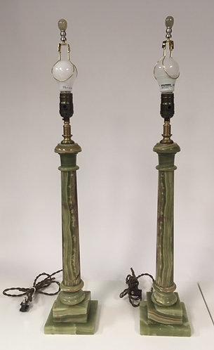 Pair of Entryway Onyx Lamps