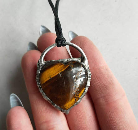 Tigers Eye Heart Crystal Necklace WIW
