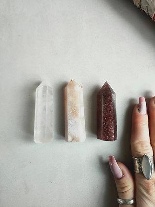 Crystal tower set, Rose Quartz, Blossom Agate, Strawberry Quartz WIW