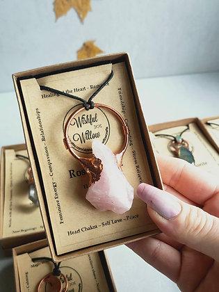 Raw Rose Quartz necklace WIW