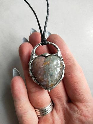 Ocean Jasper Heart Crystal Necklace WIW