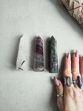 Crystal tower set, Larvikite, Fluorite, Tourmaline in Quartz WIW