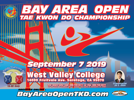 2019 Bay Area Open TKD Championship will be held on September 7th.