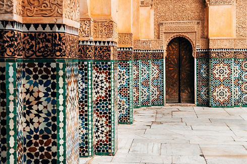 colorful ornamental tiles at moroccan co