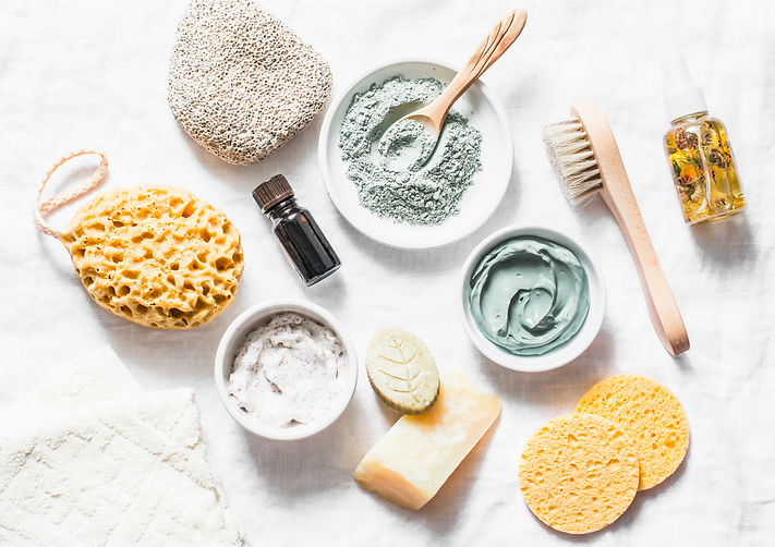 Spa accessories - nut scrub, sponge, fac