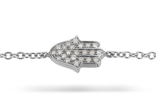 Hamsa Pave' Bracelet in White gold