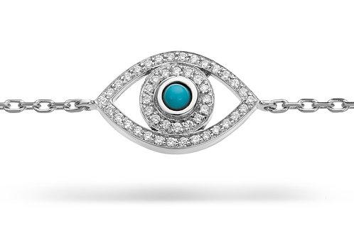 Mini Eye Bracelet in white Diamonds - White gold-Turquoise