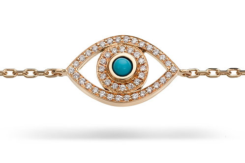 Mini Eye Bracelet in white Diamonds - Yellow gold-Turquoise