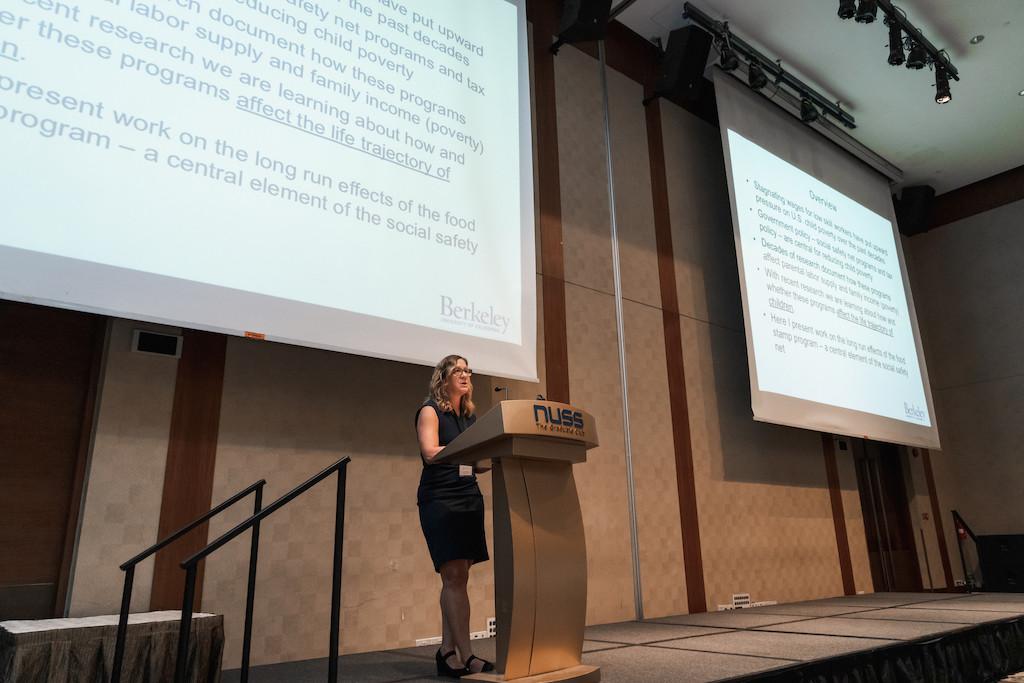 Hilary Hoynes presenting a keynote speech.
