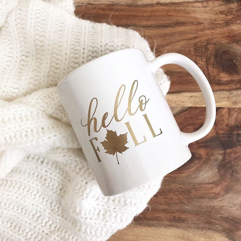 Hello Fall Coffee Mug - 11 ounce - Gold writing