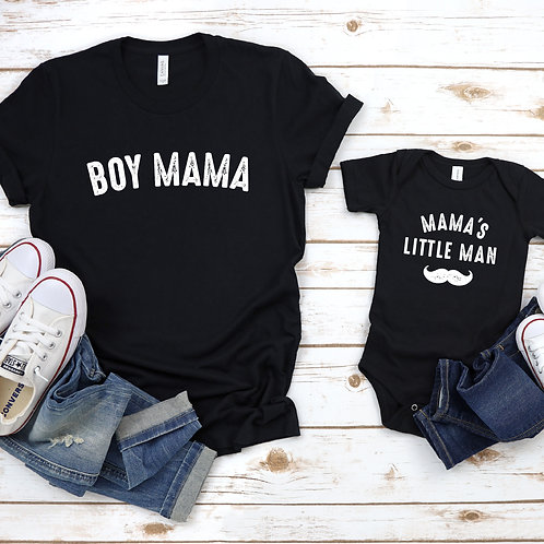 Boy Mama - Mommy and Me T-Shirt and Onesie - Black