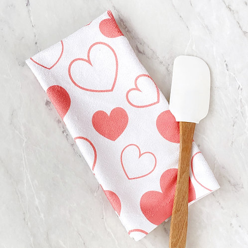 Heart Patterned Hand Towel