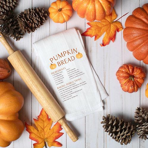 Pumpkin Bread Recipe Tea Towel - Flour Sack Tea Towel