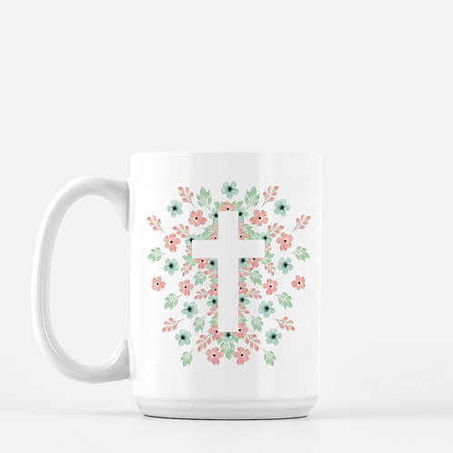 Easter Cross Floral Coffee Mug - 15 ounce