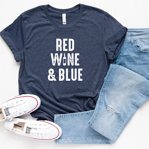 Red Wine and Blue 4th of July Shirt T-Shirt - Womens Shirt - Graphic Tee