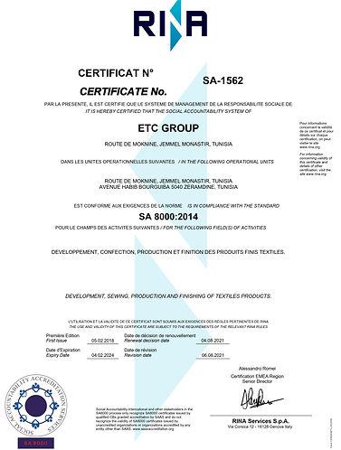 Certificat SA 8000:2014