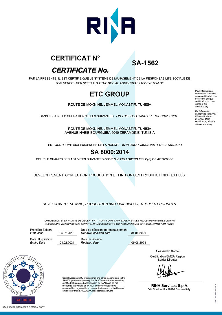Certificat SA 8000_2014