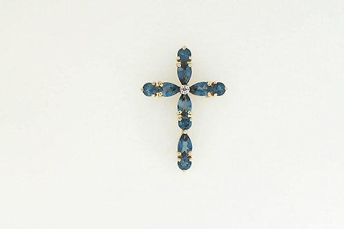 London Blue topaz cross