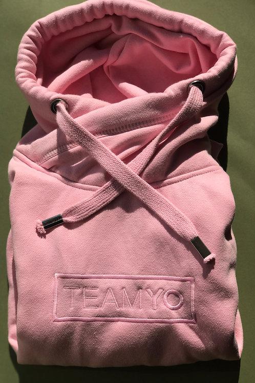 Baby pink embroidered TeamYo Hoodie