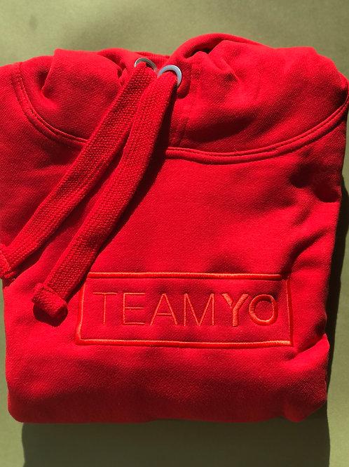 Red embroidered TeamYo Hoodie