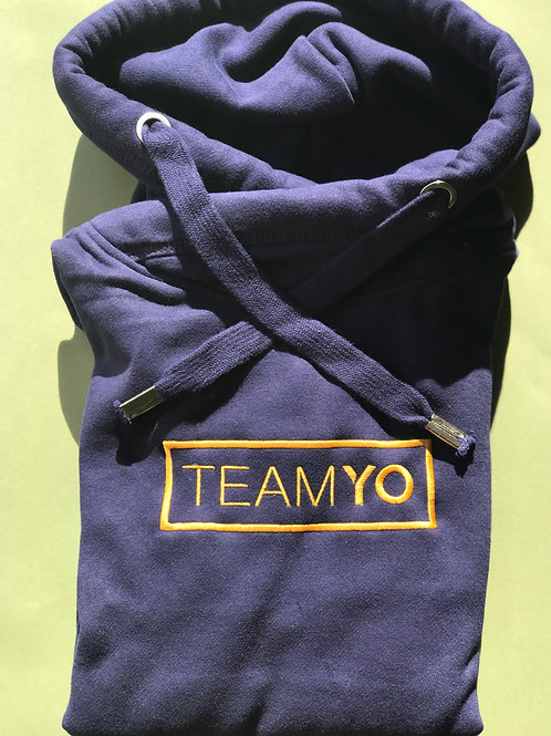 Navy and gold embroidered TeamYo Hoodie