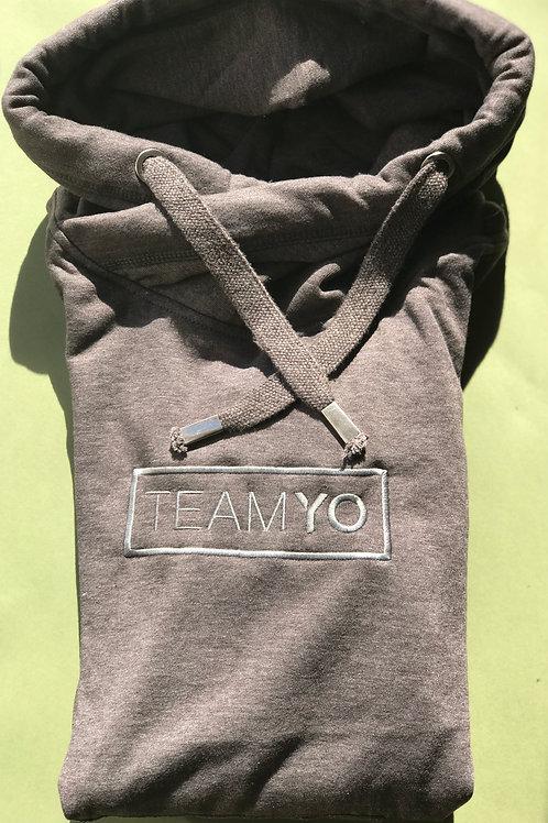 Charcoal embroidered TeamYo Hoodie