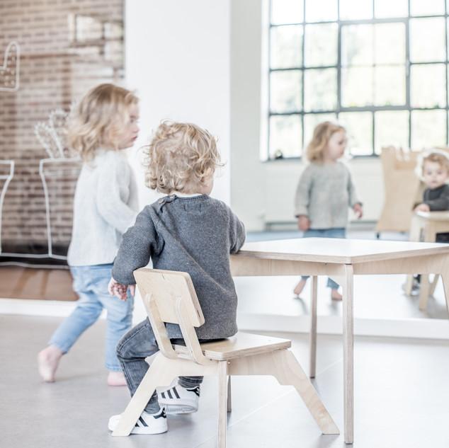 kinderstoel, 2, kindertafel, stoel, tafe