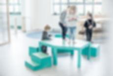 Ateliertafel, 2, kinderstoel, kindertafe
