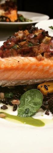 A Bacon Crusted Cedar Plank Salmon on a