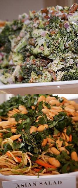 Chopped broccoli salad.  Asian noodle sa