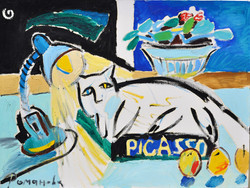 A lamp, a cat and Picasso