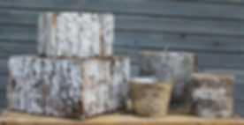 Silver birch box stack and natural wood.