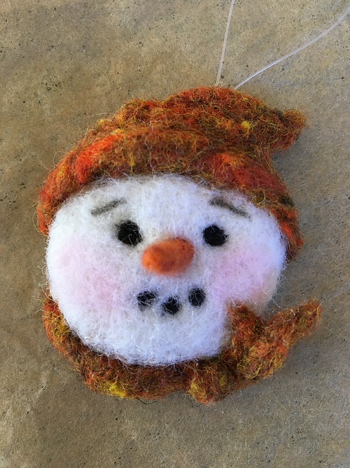 Snowman face ornament-orange