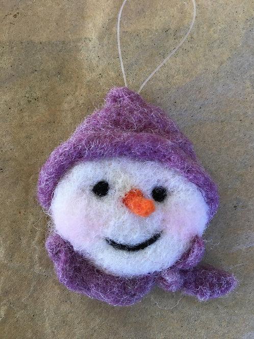 Snowman face ornament-purple