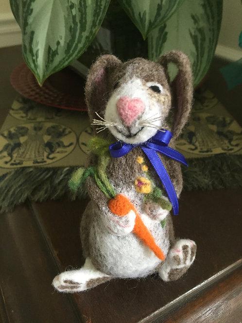 Needle felted carrot bunny