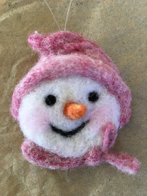 Snow man face ornament-pink