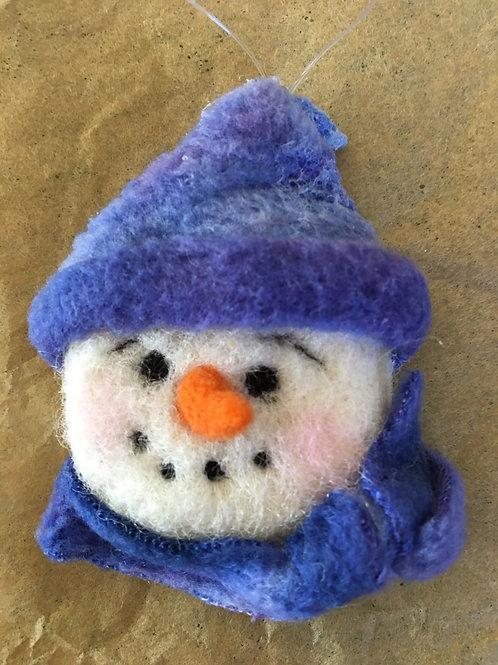 Snowman face ornament-blue