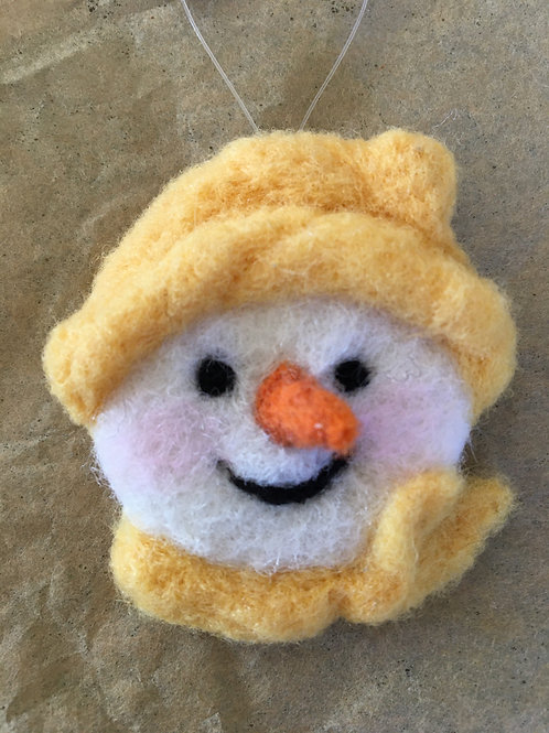 Snowman face ornament-yellow