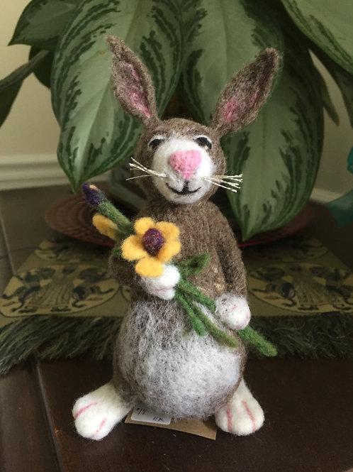 Felted flower bunny