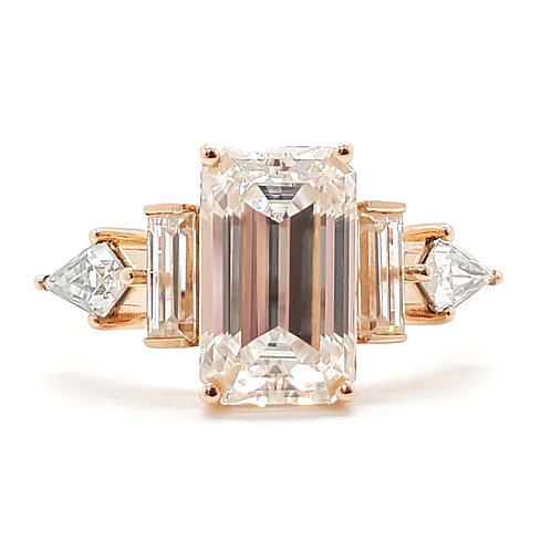 Emerald-shaped Moissanite rose gold ring 3.7ctw