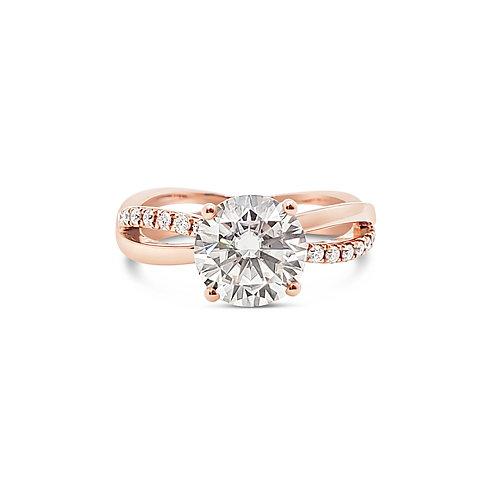 莫桑石18K玫瑰金戒指(共1.6卡)