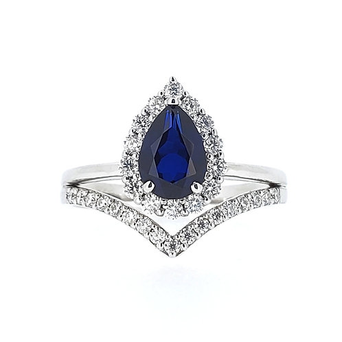 Pear-shaped Lab-grown sapphire ring 1.3ctw
