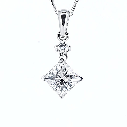 Princess Cut Moissanite Necklace 1.6 cts
