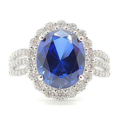 橢圓形培育藍寶石戒指(共4.3卡)
