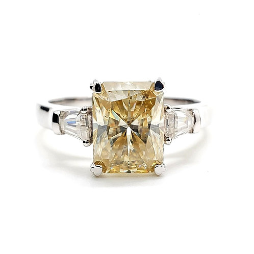 Yellow Radiant Moissanite Ring 2.6ctw