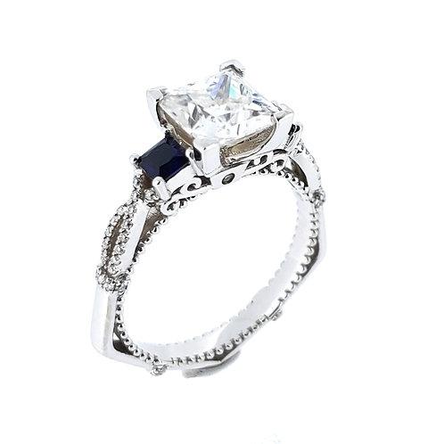 莫桑石藍寶石戒指(共2.1卡)