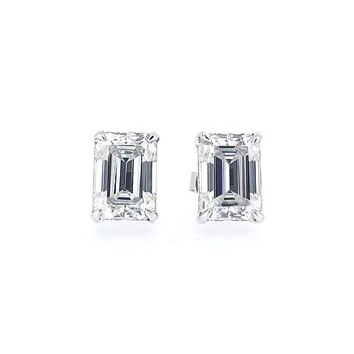 Emerald-shaped moissanite earrings 1.8ctw