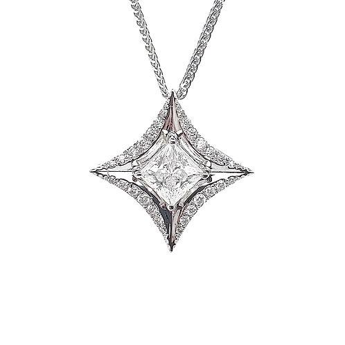 Princess cut Moissanite Necklace 0.7ctw