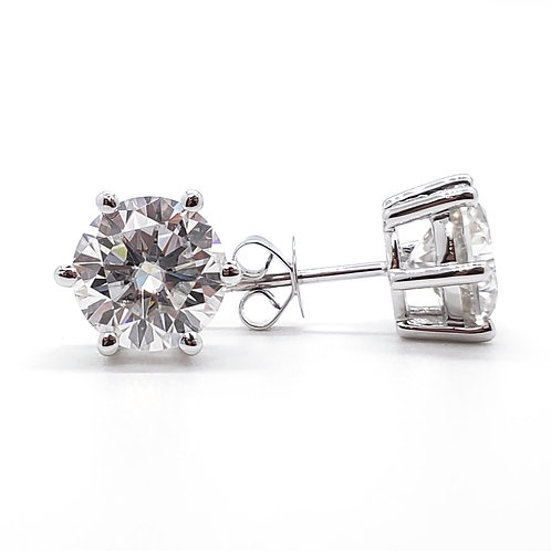Moissanite six-prong earrings (3ctw)